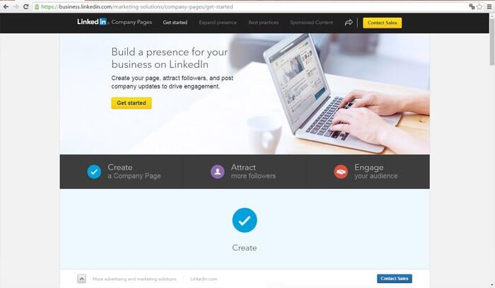 Linkedin Business Account Step 1