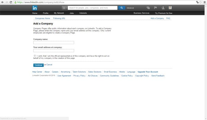 Linkedin Business Account Step 2