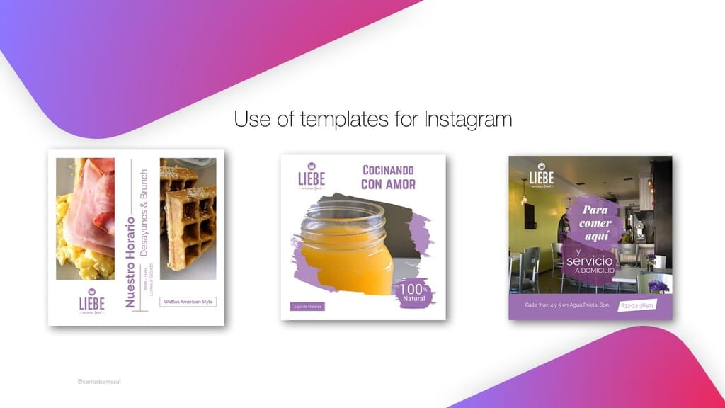 Use templates for instagram